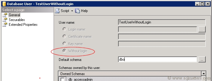 Database User Without Login - SQL Server 2008 R2
