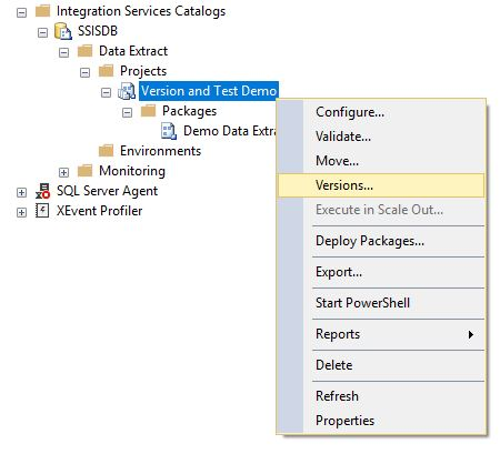 SSIS Versions Menu Item