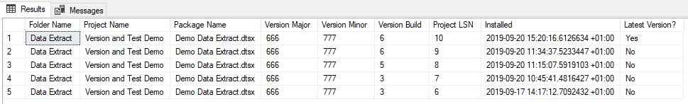 SSIS version query results